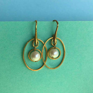 Gold and Pearl Earrings - Craft Shop Bantry