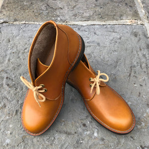 Handmade Mens Leather Desert Boots - Tan Size 9 - Craft Shop Bantry