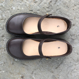 Handmade Mary Jane Style Leather Shoes - Chocolate Brown Size 6 1/2 - Craft Shop Bantry