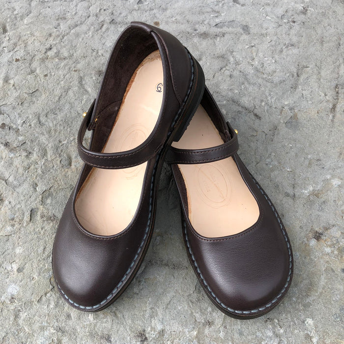 Handmade Mary Jane Style Leather Shoes - Chocolate Brown