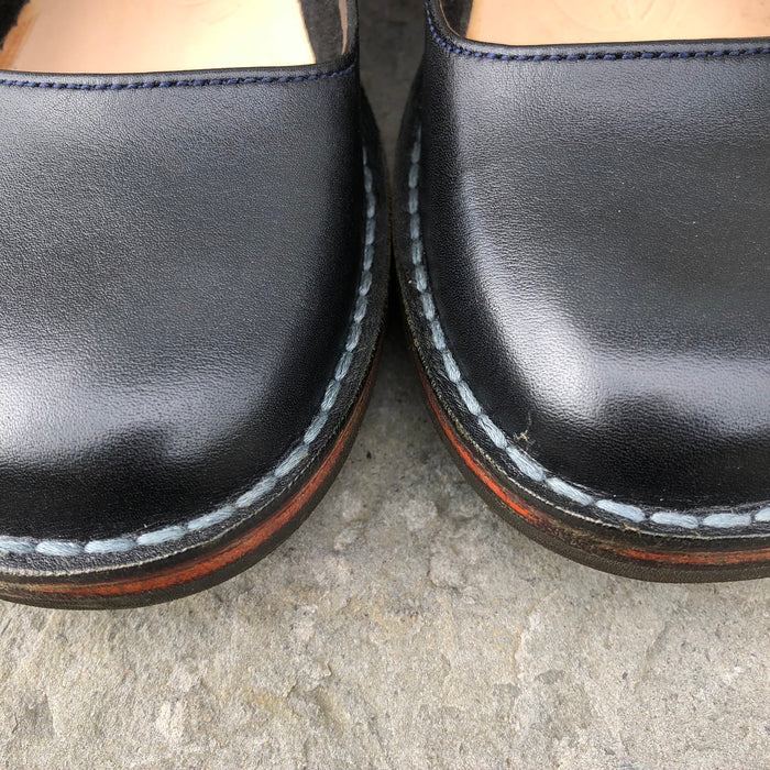 Handmade Leather Court Shoes - Black