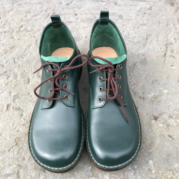 Handmade Leather Ankle Boots - Green Size 4