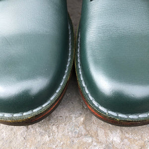 Handmade Leather Ankle Boots - Green Size 4 - Craft Shop Bantry