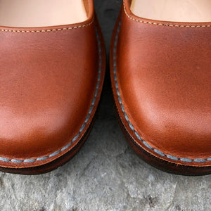 Handmade Mary Jane Style Leather Shoes - Tan Size 7