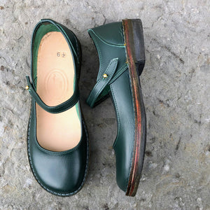 Handmade Mary Jane Style Leather Shoes - Green Size 6 1/2 - Craft Shop Bantry