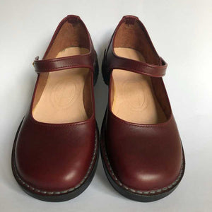 Handmade Mary Jane Style Leather Shoes - Burgundy
