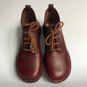 Handmade Leather Ankle Boots - Burgundy