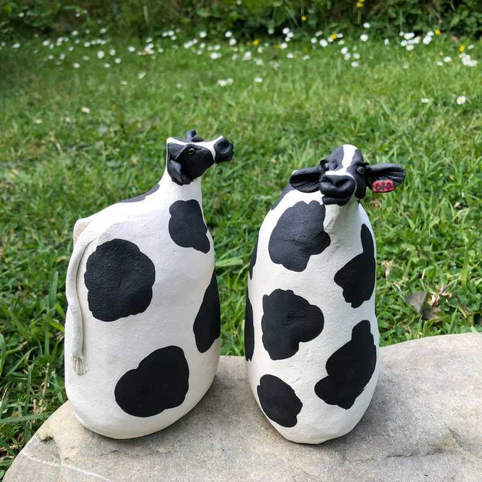 Tall Ceramic Cows by Joanne Robey