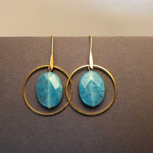 Amazonite and Gold Hoop Earrings - Craft Shop Bantry