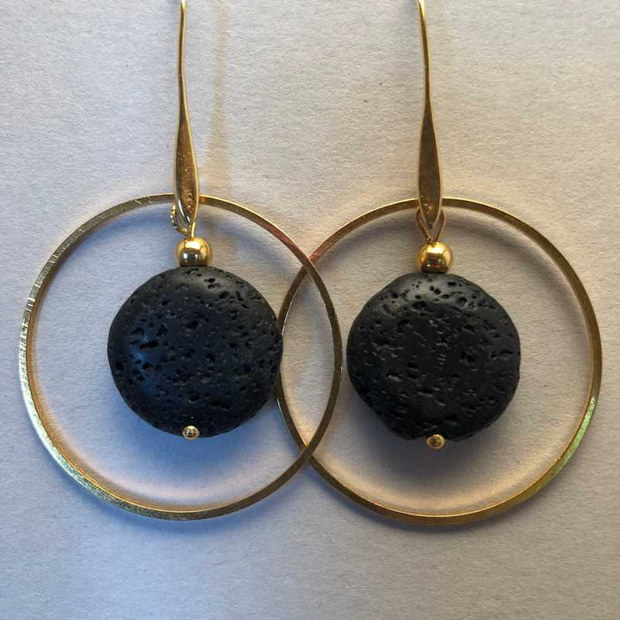 Colleen's Black Lava in Gold plated Hoop Earrings