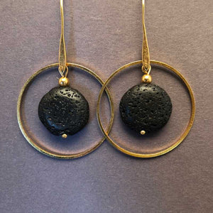 Black Lava in Gold plated Hoop Earrings