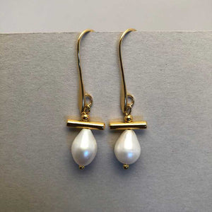 Gold Bar and Pearl Earrings - Craft Shop Bantry