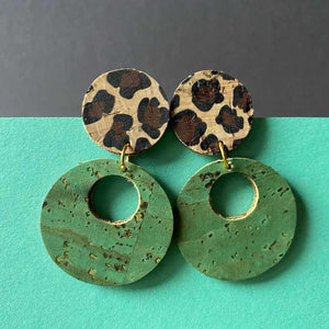 DiscO Earrings in Leopard Print and Teal