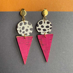 Pink Triangles and Dalmatian Print Earrings