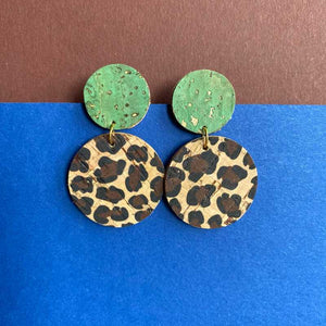 Double Disc Earrings in Teal and  Leopard Print