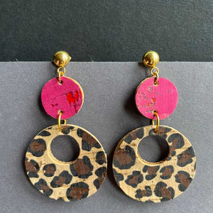 DiscO Earrings in Pink and Leopard Print