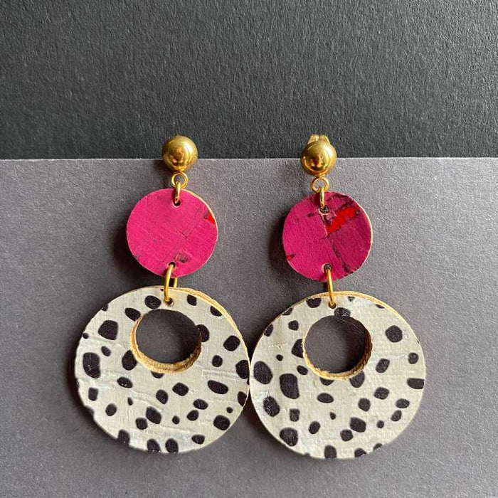 DiscO Earrings in Dalmatian Print and Pink