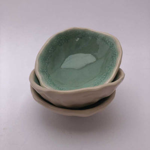 Teal Pinch Pots by Jackie Dee - Craft Shop Bantry