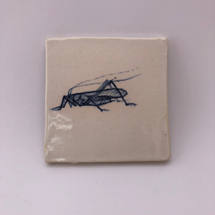 Cricket - Handpainted tile by Leda May