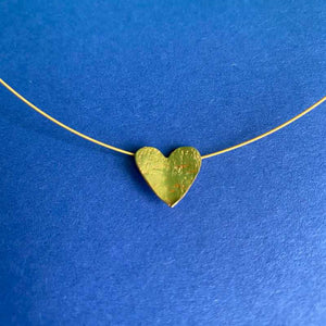 Brushed Gold Heart Necklace