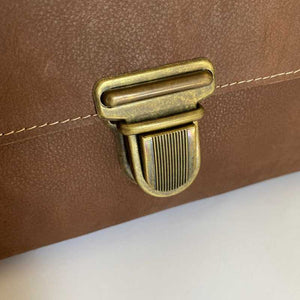 Small Leather Satchel Bag in Classic Brown