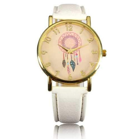 Casual Women Dreamcather Feather PU Leather Band Quartz Wrist Watch