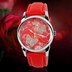 SKMEI 9079 Butterfly PU Leather Band Life Waterproof Women Quartz Wrist Watch