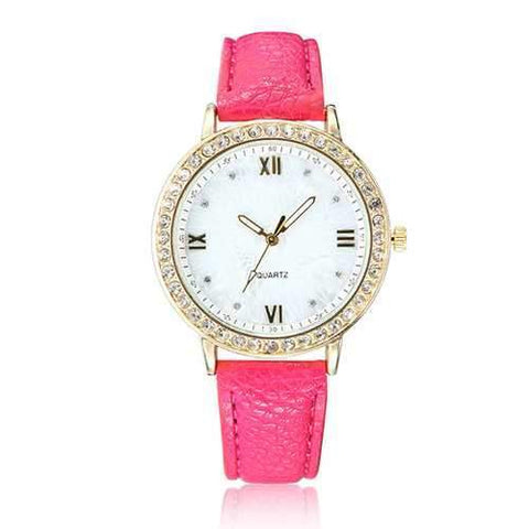 Casual Fashion Crystal PU Leather Band Women Analog Quartz Wrist Watch