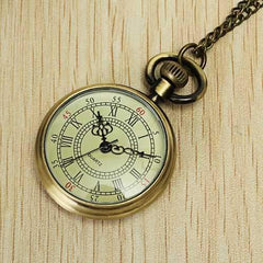 DEFFRUN Vintage Bronze Roman Number Chain Pocket Watch