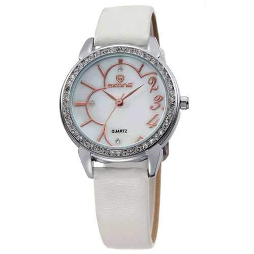 SKONE 9259 Female Waterproof Flower Rhinestones Round Dial Quartz Watch