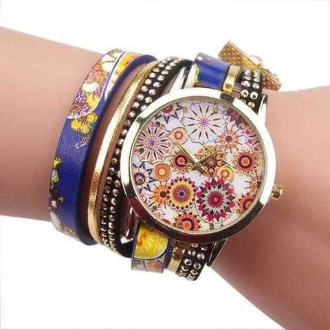 Fashion Folk Custom Style Flower Big Dial Ladies Bracelet Watch Women Quartz Watch