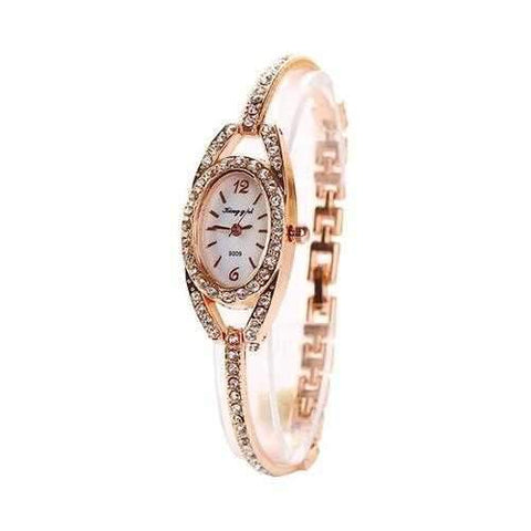 Fashion Ladies Wrist Watch Rhinestones Dial Alloy Women Bracelet Quartz Watch