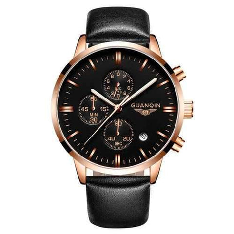 Luxury GUANQIN Brand Men Fashion Wristwatch Waterproof Chronograph Leather Quartz Watch GQ12006