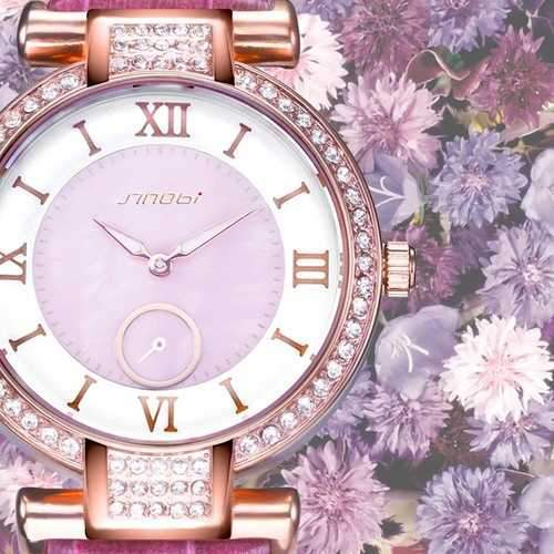 SINOBI 8192 Fashion Style Diamond Case Ladies Women Watch Leather Roman Numerals Dial Quartz Watch