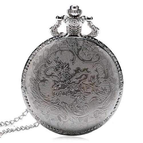 DEFFRUN Fashion Train Carved Openable Hollow Steampunk Pocket Watch Charming Necklace Quartz Watch