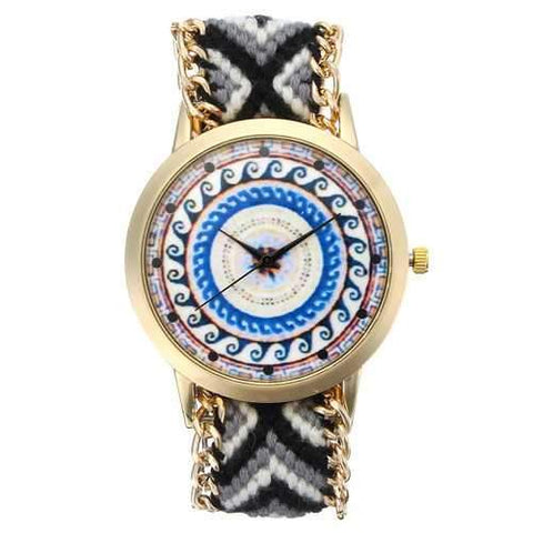 Custom Folk Women Watch Kaleidoscope Pattern Alloy Case Casual Retro Quartz Wrist Watch