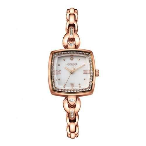 JULIUS 871 Luxury Rhinestone Simple Square Dial Fashion Ladies Quartz Watch