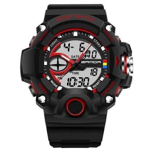 SANDA 715 Dual Display Multi-function Sport Stopwatch Outdoor Fashion Men Digital Watch