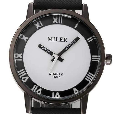 MILIER 8287 Fashion Unisex Male Female Leather Strap Lovers Quartz Wrist Watch