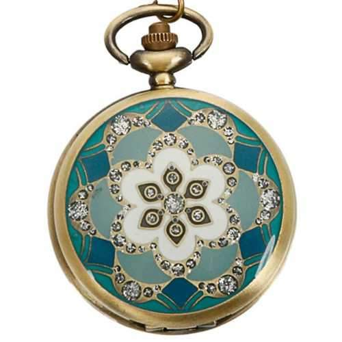 DEFFRUN Vintage Bronze Flower Pattern Quartz Pocket Watch