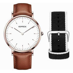 KOPECK GB-6001G Fashionable Watch Casual Style Waterproof Two Watch Bands Quartz Men Watch