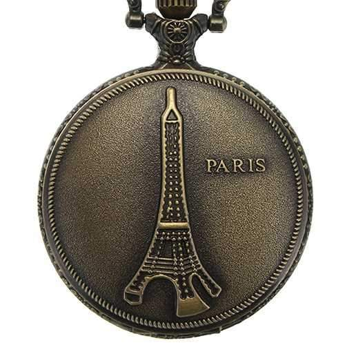 DEFFRUN Vintage Eiffel Tower Pattern PARIS Chain Retro Pocket Watch