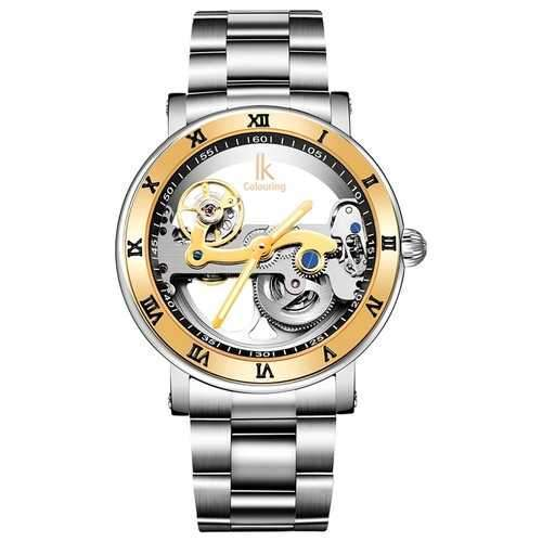 IK COLOURING 98399 Business Style Men Wrist Watch Stainless Steel Strap Automatic Mechanical Watches