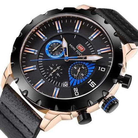 MINI FOCUS MF0079G Multifunction Men Wrist Watch Chronograph Leather Band Quartz Watch