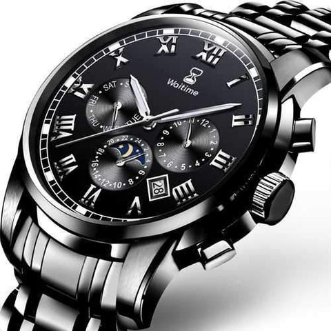 WAITIME 8008 Multifunction Men Watch Stainless Steel Quartz Wrist Watch