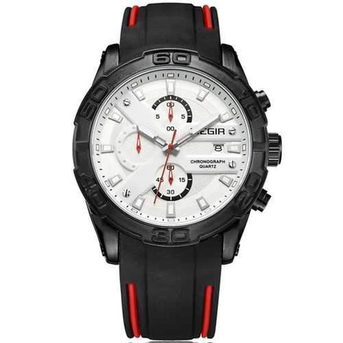 MEGIR 2055 Sport Watch Men Quartz Chronograph Black Male Wrist Watch