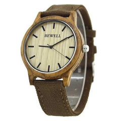 BEWELL ZS-W134A Wooden Watch Casual Style Canvas Band Quartz Wrist Watch