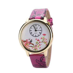 Flower and Bird Casual Leather Strap Quartz Wrist Watch