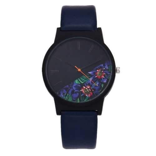 HOREDAR Rose Patten Fashion Leather Women Quartz Watch
