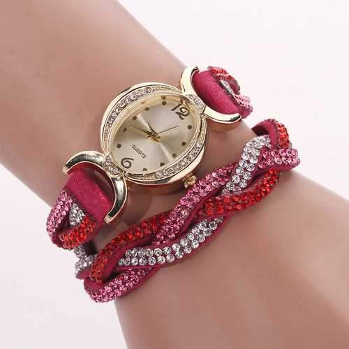 DUOYA D014 Rhinestones Elegant Leather Strap Bracelet Watch